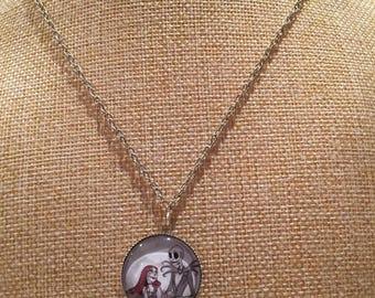JACK skeleton skull couple cabochon necklace