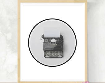Typewriter Print | Vintage Typewriter | Office Decor | Digital Artwork | Black and White Photography | Minimalist Decor | Digital Print