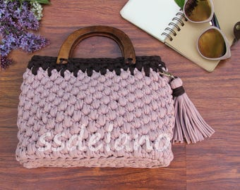 handle knitted Bag Dairy Cocoa and chocolate