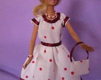 White cotton short dress red peas (B166)