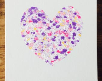 Best friend gift Lilac love heart canvas, original acrylic painting