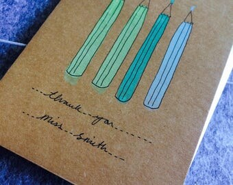 Pencil Personalised thank you cards hand painted.