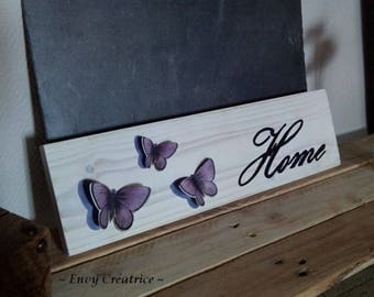 """""""Home"""" painting on white background and purple embossed Butterfly pallet wood"""