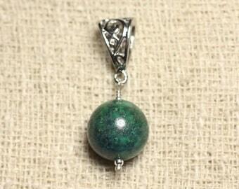 Semi precious - 14 mm Chrysocolla stone pendant