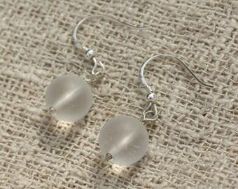 Earrings 925 Silver - Crystal Quartz matte 10mm