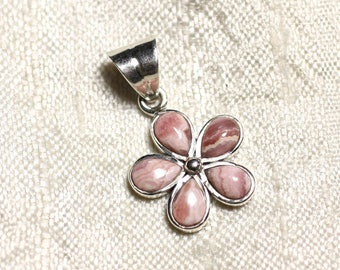 Pendant 925 sterling silver and semi precious - Rhodochrosite flower 16mm