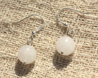 Earrings 925 sterling silver and 10mm White Jade