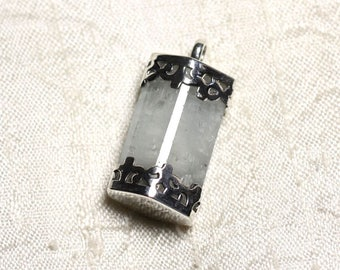 N9 - Pendant 925 sterling silver and stone - aquamarine rough 32mm