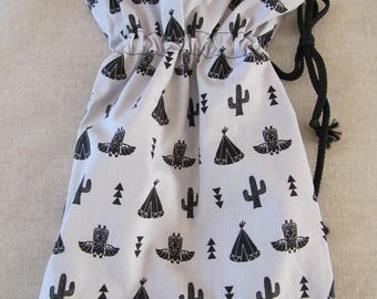 Purse pouch Organizer gray patterned Indian theme