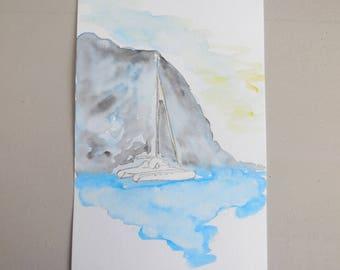 Original watercolor painting Saint Bartholomew FWI Beach Shell Beach