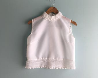 60s Frill Collar Cropped Blouse//Back Button-Up//Semi-Sheer