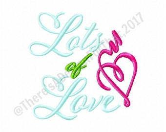 Lots of Love embroidery design, valentines day embroidery design, heart embroidery design, love embroidery design