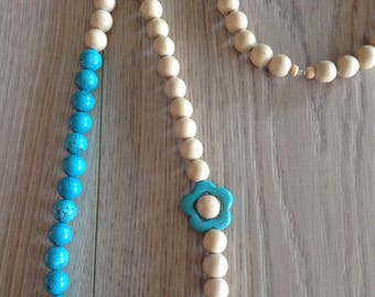 Necklace butterfly and feur howlite and wood