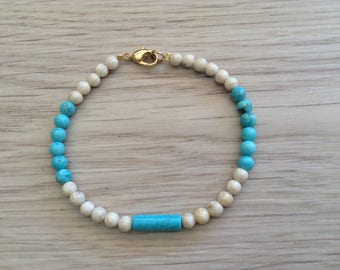 River stone and howlite stone bracelet