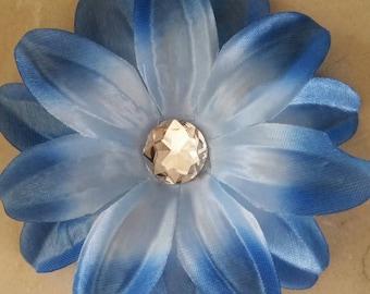set of 2 large appliques flowers Blue 12cm