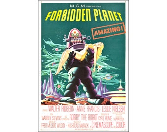 Forbidden Planet Movie Poster Print - 1956 - Sci-Fi - One (1) Sheet Artwork Reproduction