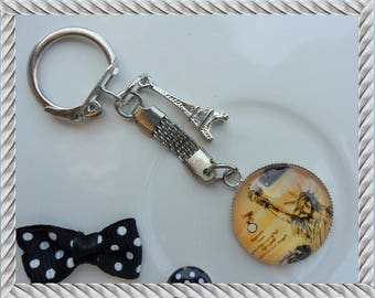 Keychain jewelry bag Statue liberty Paris Eiffel Tower charm 25mm glass Cabochon
