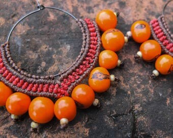 Hoop Earrings Orange Statement Earrings Bold Macrame Jewellery Bohemian Gypsy Tribal