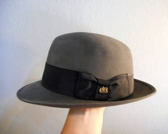 Imperial Stetson Hat Fedora Gray wool 1950's