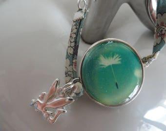 simple round liberty and dandelion flower cabochon bracelet