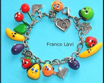 Bohemian fruit kawaii Follies bird, butterfly charm bracelet