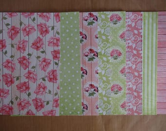 """8 scrapbooking papers with glitter / 5.75 x 8.25 """"(14.8 cm x 21 cm)-set no. 4 - flowers"""