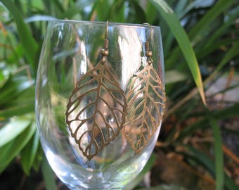 Bronze filigree leaf earrings
