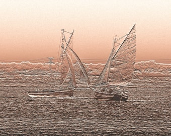 Old sailing ships on parade - photography of Sepia Art