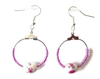 Flower Earrings fuschia ceramic and seed beads