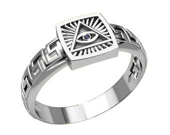 All Seeing Eye Providence Masonic Freemasonry Men's Ring Sterling Silver 925 SKU30306