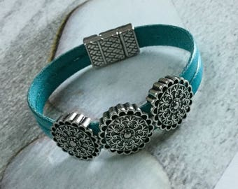 Turquoise blue leather with three passes ethnic leather bracelet