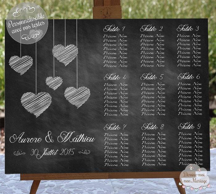 Tableau plan de table de mariage personnalisable coeurs - Tableau plan de table mariage ...