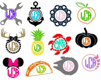 Monogram Decals,color monogram,taco monogram,starwars,pumpkin monogram,pretty monogram,mens monogram,vinyl decal,yeti decal,custom sticker,