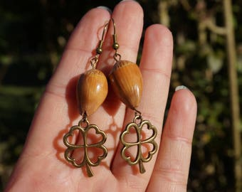 earrings with natural hazelnuts on four leaf clover
