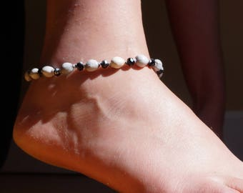 gorgeous chain anklet with job's tears and faceted glass beads