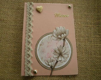 "Rectangular card, pink color, message ""thank you"", decor flowers + matching envelope"