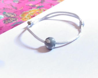 Floral grey Pearl Grey and white and grey satin cord sliding knot bracelet