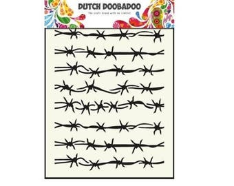 Stenciled Dutch Doobadoo Mask Barbed Wire A5 new stencil Art