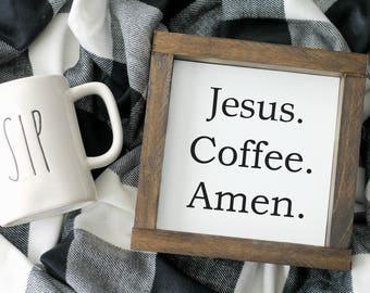 Jesus Coffee Amen Sign | Framed Canvas Sign | Farmhouse Sign | Wood Framed Sign | Coffee Bar Sign | Farmhouse Style Decor | Coffee Bar Decor