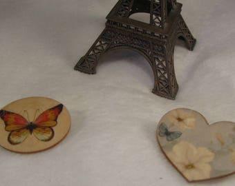 """""""wood"""" Creat pins ' Y. O.N - feminine and unique-"""