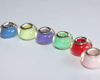 6 x acrylic beads - European large hole type.