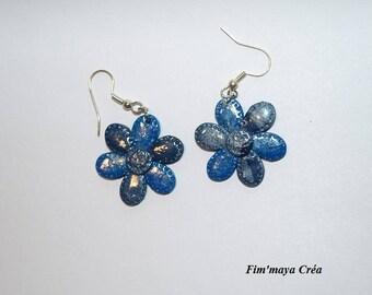 """Glittering earrings """"Polar flowers"""""""