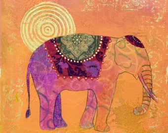 Quality Indian thai elephant sun buddha art painting Print Canvas Super size 100cm or 90cm
