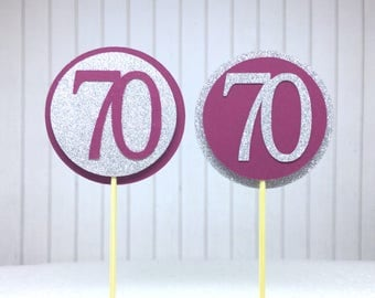 "70th Birthday Cupcake Toppers - Silver Glitter & Maroon ""70"" - Set of 12 - Elegant Cake Cupcake Age Topper Picks Party Decorations"
