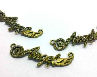 x 1 charm / connector - Ange Angel fashion curb chain - 15 x 40 mm - Metal color bronze