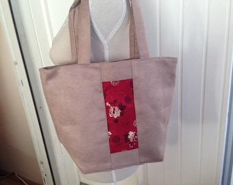 Beige suede and red silk handbag