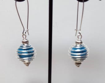 Earrings howlite turquoise spiral