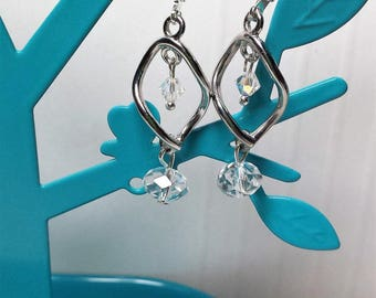 Earrings clear Crystal spiral