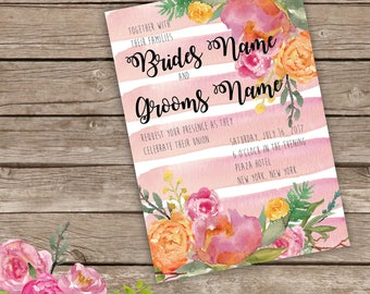Striped watercolor peony wedding invitation