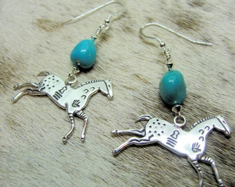 Medicine Horse Charm with Sleeping Beauty Turquoise Southwestern Earrings